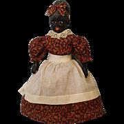 15 inch WONDERFUL Black Papier Mache Mammy Character Doll c.1920 Folk Art Doll