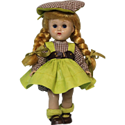 8 Vogue Ginny Doll Straight Leg Walker blonde braids from 1959 Orig. Outfit