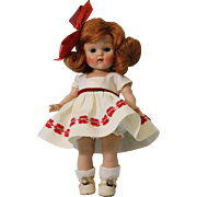 8 inch Red haired painted eye Vogue Ginny Doll in white pique dress and Panty ...