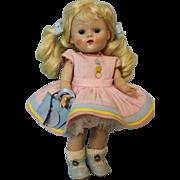 8 inch Blond Vogue Ginny doll Connie in Kindergarten series dress c.1951 Early