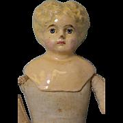 """13"""" German Antique Papier Mache Composition Doll Blonde Hair Leather Hands Cloth"""
