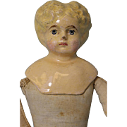 13 inch German Antique Papier Mache Composition Doll Blonde Hair Leather Hands Cloth