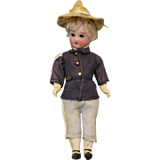 6.5 inch All Original Antique Soldier Boy doll bisque head 5 piece Papier Mache ...