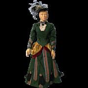 18 inch carved wood art doll, CAROLINE 1889, HELEN BULLARD signed 1967 NIADA artist