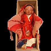 "16"" Japanese Ichimatsu Sexed Boy Baby c.1880 Red Tint Gofun Kimono & box"