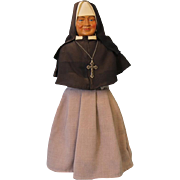 "16"" Rare American paper mache Native American/Brown Nun doll in her habit"