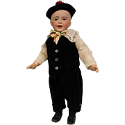 """20"""" Antique SFBJ 235 French Bisque Character boy Doll Solid Dome head Glass Eyes"""