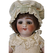 1910 Antique 7 inch All Bisque Kestner 150 Doll With Dimples, Molded Two Strap Shoes