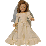 "Early 19"" Effanbee Composition Bride Doll All Original c.1940's Beautiful Gown!"