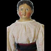 "23"" Antique Milliner's Model Papier Mache Girl Doll Short Hair 1850 Old Clothes"