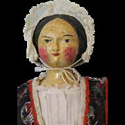"Antique c.1880 16"" Wooden German Doll Original Regional Clothing"