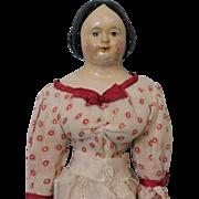 "Early 17.5"" Antique PAPIER-MACHE Doll c1850 Milliner's Model Wood Arms & Legs"