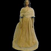 "SALE 10 ½"" Early Papier-Mâché Doll MILLINER'S MODEL c1840 Spaniel-Ears All-Original"