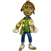 Vintage 14K Enamel designer character Clown Pin MAR
