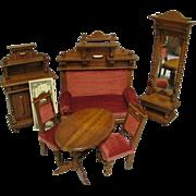 """SALE 6-pc Antique German c1890 Wooden Renaissance Revival 6"""" to 10"""" Dolls LIVING ROO"""