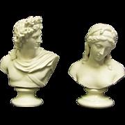 Two Busts, 1 Belleek 10.5 inch Sorrow Bust Green Stamp Glazed Pedestal  Bust