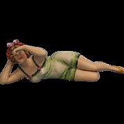 "SALE 7""Early German Bathing Beauty Doll c1920 with Molded BONNET & SWIM SUIT"