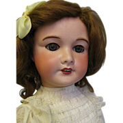 "SALE 24"" Early UNIS FRANCE #301 Original Body & Sleep Eyes, Mohair Wig, Old Fabrics"