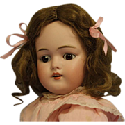 """SALE 19""""Early 168 Kestner Doll /Marked body/ Original Dress, Brown Sleep eyes"""