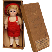 """SALE MIB 5-1/2"""" Antique All Bisque Doll Jointed,Glass Sleep Eyes, Mohair wig VeryCute"""