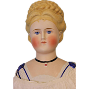"""SALE 27"""" Antique Parian doll  with elaborate molded and braide hair and shoulderplate"""