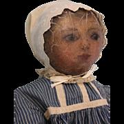 """SALE 25"""" Antique ca.1890 Primitive NICE Oil painted face Cloth doll Antique clothes!"""