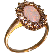 SOLD Very Sweet and Feminine Late Victorian 1900 to 1910's Opal and Diamond ring