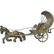 Antique Miniature 5 Inch Sterling Silver Filigree Japanese/French Horse & Carriage