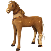 "SALE 18"" Tall early horse hide horse"