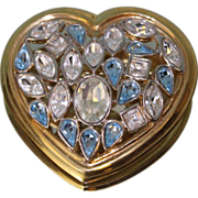 SALE Vintage YSL Heart shaped brooch with baby blue and Clear Rhinestones.. Clean !