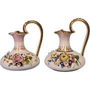 "SALE Pair of Ewers 6"" English Crown Derby with applied flowers Circa 1830"