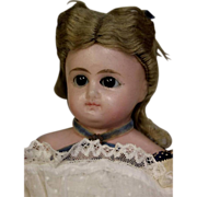 """SALE 14"""" Antique POURED WAX DOLL 1870s Sleep Eyes, Original Clothes,Wig Unplayed with"""