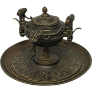 "SALE 5.75""x7.75"" Antique Etruscan Bronze c1900 Ink Well & Stand & Brass BELL Pedesta"