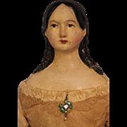 "SALE Early c.1860 20"" Antique Papier Mache German Milliners Model Doll Long Curls"
