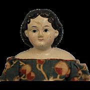 """SALE Early c.1850's 14"""" Greiner Antique Papier Mache Doll Original Clothes & Decal"""