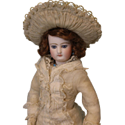 "SALE Antique All Original 17"" Jumeau French Fashion Doll c.1870 DRESS, SLIP, Jewelry"