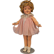 """SALE 22"""" Composition c.1935 Shirley Temple Doll """"Baby Take a Bow"""" Pleated Party"""