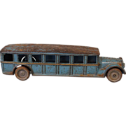 "SALE RARE 12"" 1925 Antique Arcade Fageot Safety Coach Cast Iron Toy Bus"