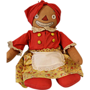 """SOLD Signed 1930 18"""" Antique Georgene Beloved Belindy Mammy to Raggedy Ann Cloth doll"""