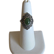 Vintage Sterling & Green Onyx Ring with Marcasites