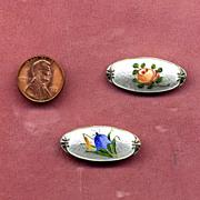 SALE Pair of Sterling Silver Enamel Floral Pins