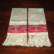 SOLD Victorian Red and White Towels with Tulips