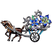 SALE Sterling, Marcasite, and Enamel Flower Cart Pin