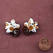 """SALE Copper Enamel Leaf Clip Earrings signed """"Matisse"""""""