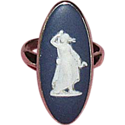 SALE Sterling Silver & Blue Wedgwood Cameo Ring with Box