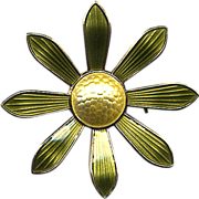 Norway Sterling Yellow and Green Enamel Brooch