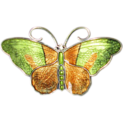 Norway Sterling Green & Brown Enamel Butterfly Pin