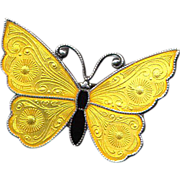 Denmark Sterling and Yellow Enamel Butterfly Pin