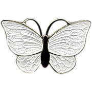 Denmark Sterling and White Enamel Butterfly Pin