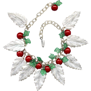 Plastic & Lucite Leaf Necklace with Red Bakelite Berries